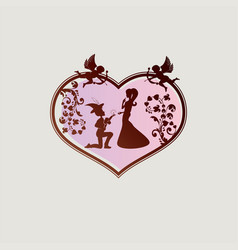Silhouette of a heart with a boy in a hat with a vector