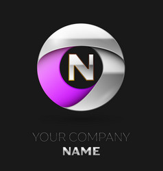 silver letter n logo in the silver-purple circle vector image