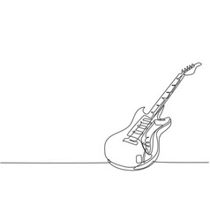 single continuous line drawing electric guitar vector image