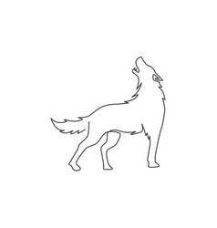 Single continuous line drawing mysterious wolf vector