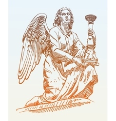 Sketch drawing of marble statue angel from Rome vector