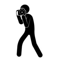 Stick figure man takes photo with a camera world vector