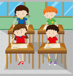 Students writing and learning at school vector image