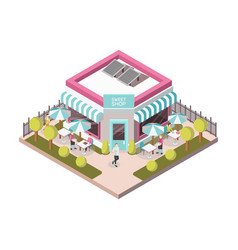 Sweet shop outside view isometric vector