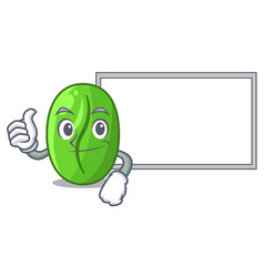 Thumbs up with board character green coffee beans vector