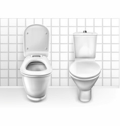 Toilet with seat white ceramic lavatory bowls vector