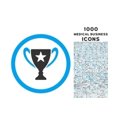 Trophy Cup Rounded Icon with 1000 Bonus Icons vector image