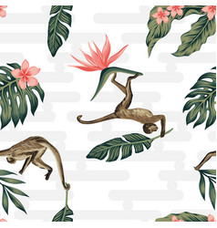 tropical composition monkey palm leaves seamless vector image