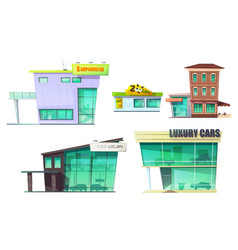 Urban retro modern building cartoon set vector