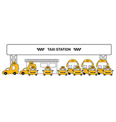 Urban taxi station concept vector