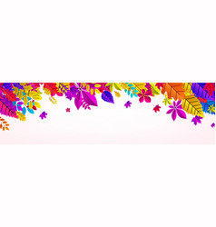 white autumn banner with bright color leaves vector image