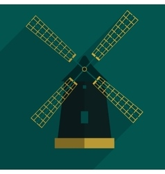 windmill flat icon with long shadoweps10 vector image