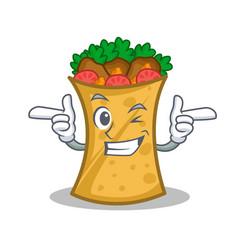 Wink kebab wrap character cartoon vector