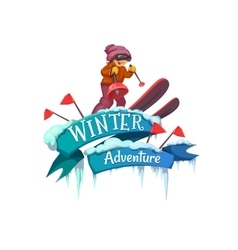 Winter Adventure banner with ribbon and ski vector image