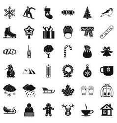 Winter mitten icons set simple style vector