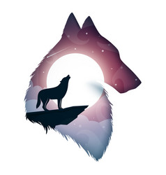 Wolf cartoon paper landscape vector