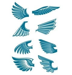 Blue open wings symbols for tattoo design vector image vector image