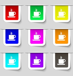 coffee icon sign Set of multicolored modern labels vector image