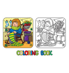 coloring book with funny knitter women vector image