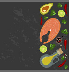 fresh seafood flat design vector image