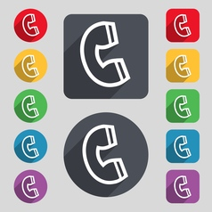 handset icon sign A set of 12 colored buttons and vector image vector image