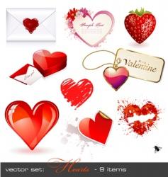 hearts set vector image