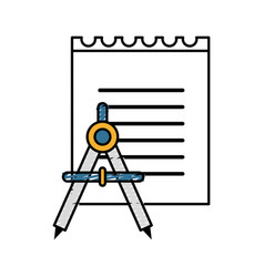 peper notebook with compass study icon vector image vector image