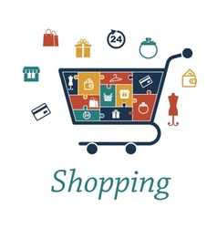 Shopping concept puzzles with a cart and icons vector image vector image