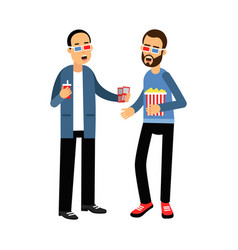 two friends in 3d glasses with popcorn and soda vector image