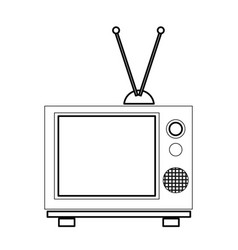 vintage tv with antenna electrical equipment vector image