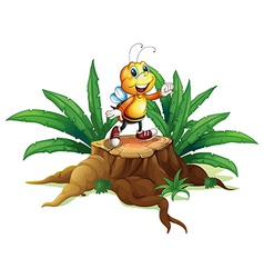 A smiling bee above the trunk vector image