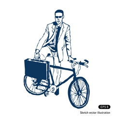 Businessman with his case and bike vector image vector image
