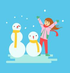 Happy girl making snowmen winter activity vector
