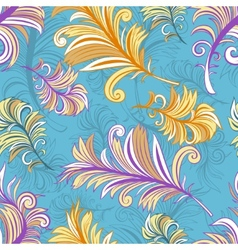 Pattern with colored abstract feathers vector image vector image