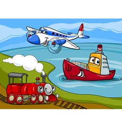plane ship train cartoon vector image vector image