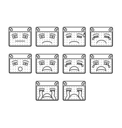 sad emoticon set vector image vector image