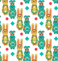 Seamless pattern with Easter bunny-13 vector image vector image