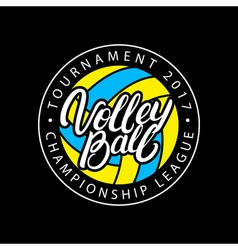 Volleyball hand written lettering logo label badge vector image vector image