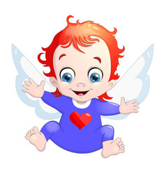 a baby cupid with a heart cartoon vector image vector image