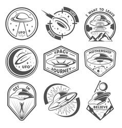 alien spaceship spacecrafts and ufo emblems set vector image