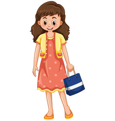 happy woman with shopping bag vector image vector image