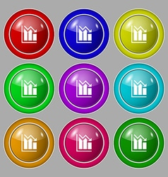histogram icon sign symbol on nine round colourful vector image