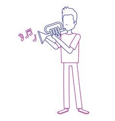 man playing trumpet avatar vector image