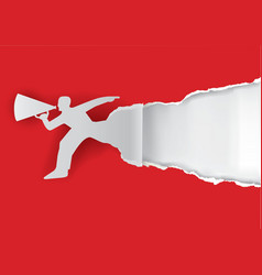 Man with megaphone ripping paper vector image