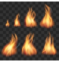 Realistic fire animation sprites flames set vector image vector image
