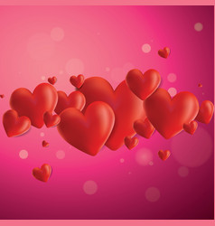 realistic hearts background vector image vector image