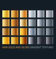 set of silver and gold gradients on dark vector image vector image
