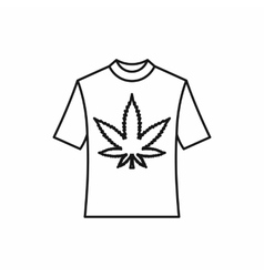 T-shirt with marijuana leaf icon outline style vector image