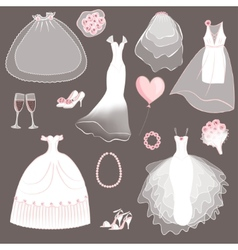 wedding dresses set vector image vector image