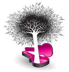 A tree of notes grows from a guitar case vector